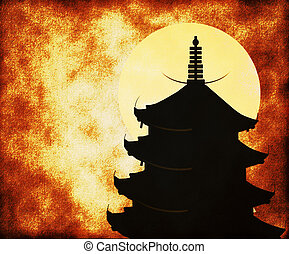 Japanese temple - Vintage background with a Japanese temple