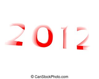 3d illustration of the new year extruded and lit from below in red on a white background