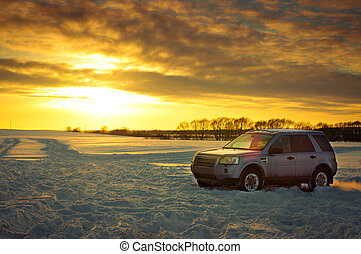 Land Rover Freelander suv Car on background the Russian...