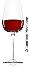 glass of red wine - Clear glass with red wine on a white...