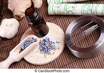 Acupuncture needles, moxa sticks and TCM herbs - Acupuncture...
