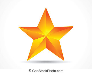 abstract shiny golden 3d star icon