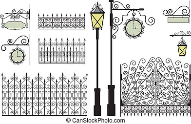 forged elements - Retro lanterns, clock, gates, fences and...