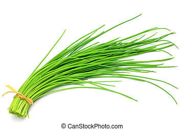 chives - I took the bunch of chives in a white background.