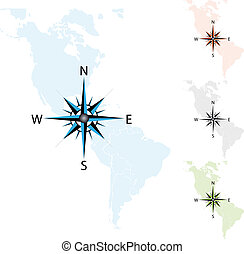 Vector compass on the map of America