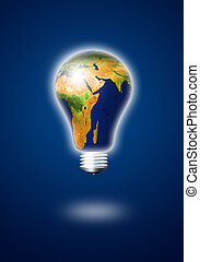 light bulb with planet earth