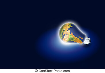 light bulb with planet earth over dark