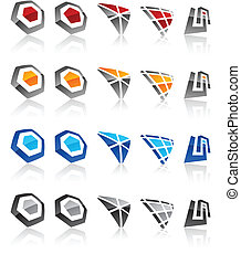 Set of modern emblems. - Vector illustration of geometric...