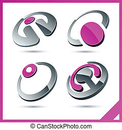 Pink company signs. - Set of vector business pink 3d signs.