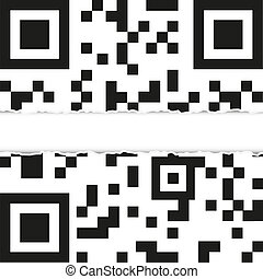 Torn qr code with place for your text. vector illustration