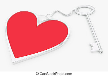 Heart key ring - Red-silver or steel pendant in the shape of...