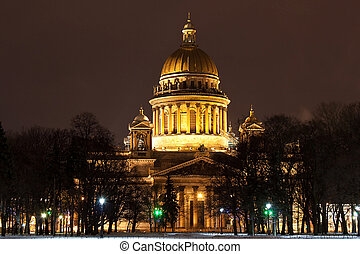 St Isaacs Cathedral in Saint Petersburg at night - night...