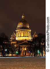 St. Isaac's Cathedral, Saint Petersburg - night vertical...