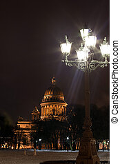 St. Isaac's Cathedral with torch, Saint Petersburg - night...
