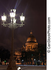 St Isaacs Cathedral with torch, Saint Petersburg - night...