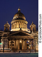 St. Isaac's Cathedral in Saint Petersburg - night vertical...