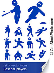 baseball players set icon