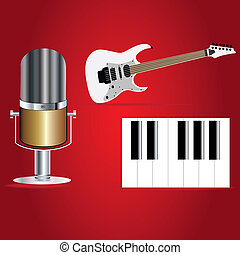 music paly 1 - piano,quitar and microphone on red bright...