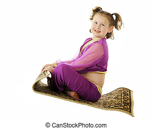 Young Geni in Flight - A happy little genie flying on her...