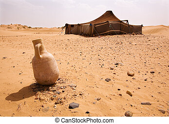 Desert Camp - The bedouins tent in the sahara, morocco