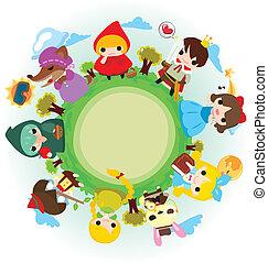 cartone animato, storia, Persone, intorno, mondo