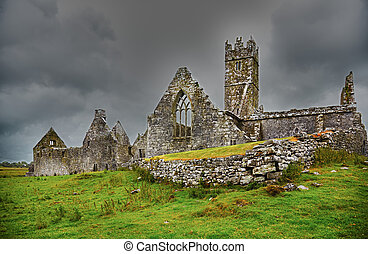Ross Friary - Overcast landscape of Ross Friary in...