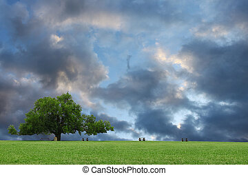 A large oak tree with a beautifu stormyl cluod filled sky behind it with room for your text.