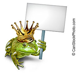 Frog Prince Holding a Blank Sign - Frog Prince from a fable...