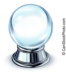 Crystal Ball With Metal Base - Crystal ball transparent...