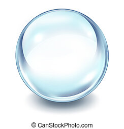 Crystal ball transparent glass sphere on a white background...
