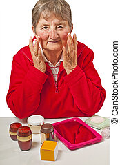 pensioner with cosmetic products