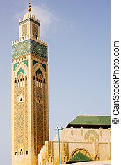 Casablanca King Hassan II Mosque - View of the minaret of...