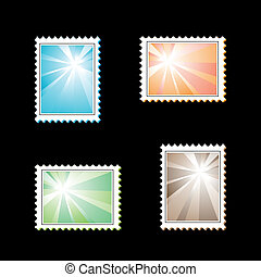 Vector stamps with light rays