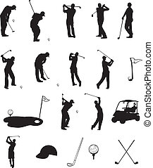 Golf Silhouettes - Scalable vectorial image representing...