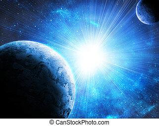 dois, planetas, espaço