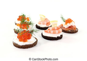 Hors d oeuvre - Pumpernickel bread with cream cheese,...