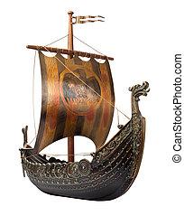 antigüidade, viking, navio, isolado, branca