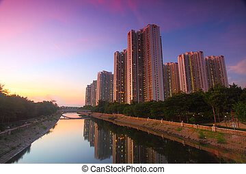 Tin Shui Wai downtown at sunset in Hong Kong