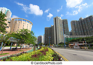 Tin Shui Wai downtown in Hong Kong at day