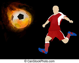 Soccer ball on fire with player
