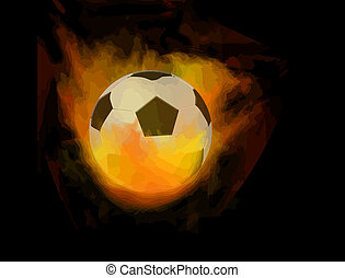 Soccer ball on fire, vector illustration