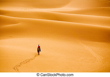 marching to desert - a group of people travelling into...