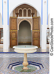 Moroccan patio - Patio of the Dar Bellarj Palace at...
