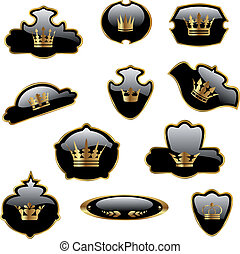 Vector labels with gold crowns