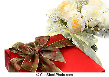 Special Occasion Celebration - Red gift box and white roses