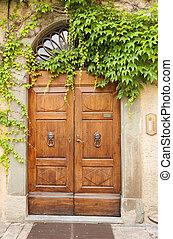 retro, drzwi, Pnącze