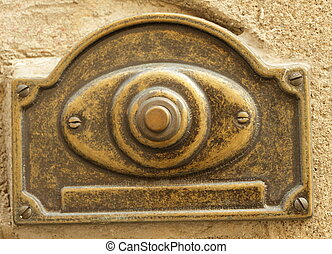 vintage door bell  - antique brass doorbell, Italy