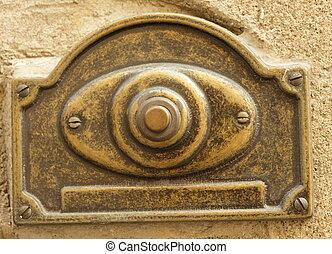 vintage door bell  - antique brass doorbell, Italy