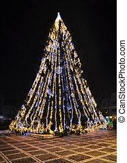 Christmas tree in Brasov, Romania - Christmas tree decorated...