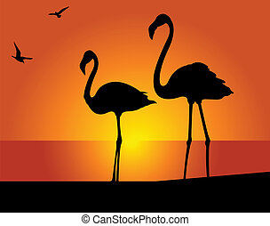 Flamingo - Silhouette of the flamingo on a background of the...
